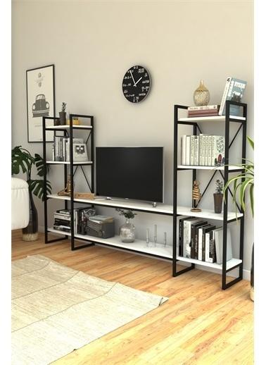 Mobitopya Nilamu Beyaz   Tv Ünitesi, Açık Raf, Kitaplık, Ofis, Ev, Salon, Tv Sehpası, Dekoratif Beyaz